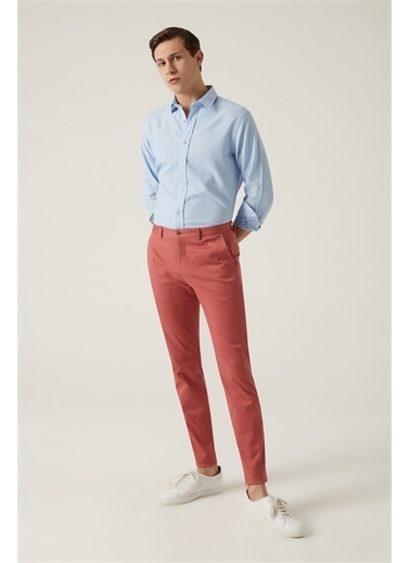 Damat Damat Slim Fit Taş Chino Pantolon Mercan